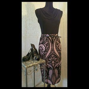 ECI New York Blush & Black Velvet Pencil Skirt S